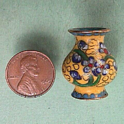 SALE Miniature 1 Inch tall Cloisonne Vase with Flowers and Cloud Motif (doll size scale 1:10)