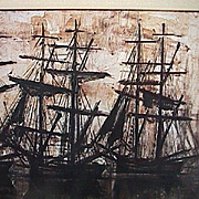 SALE Silhouettes of Tall Ships in Harbor at sunrise/sunset by Bernard Buffet (1968 exhibition