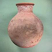 Drab White Slipped Redware Olla Jar with Combed Incised Band c1800s (or older)