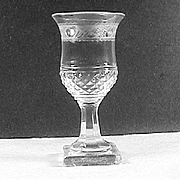 SOLD c1835 Scottish Thistle shaped hand blown small Wine Glass with Cut and Engraved Decoratio