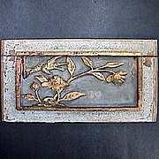 Mica encrusted Chinese Carved Wood Panel with Bird and Flowers c1850 (or older)