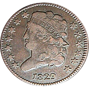 SALE 1829 US Half Cent