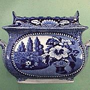 SALE c1825 Dark Blue Printed Pearlware Sugar Bowl for American Trade by William Adams