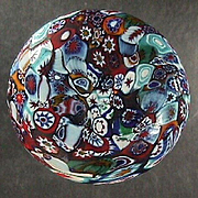 Italian Satin Finish Millefiori Glass Decanter or Bottle Stopper (early 20th C)
