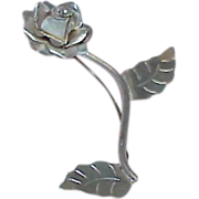 REDUCED Vintage Sterling Silver Rose Brooch
