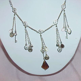 REDUCED ON SALE Silvertone Charm Necklace