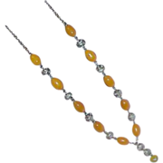 Butterscotch Oval Glass Bead Silvertone Necklace