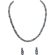 SALE Silvertone Necklace and Earring Set