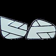 Mid Century Modernist Enamel Earrings - Black and White