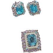 SALE Aqua Blue Rhinestone, Faux Pearl Brooch and Earring Set
