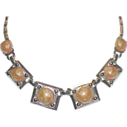 REDUCED Golden Lucite Stone Necklace