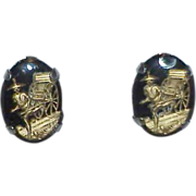 REDUCED Gold on Black Asian Motif Shadow Box  Earrings