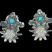 Vintage Faux Pearl and Rhinestone Earrings