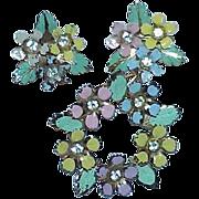 Vintage Pastel Enamel Floral Wreath Brooch and Earring Set -Demi Parure