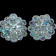 Aurora Borealis Crystal Bead Button Style GERMANY Earrings