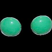 Sophisticated True Green Button Style Earrings