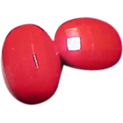 Vintage Faceted Early Plastic Bright Red Screw Back Earrings