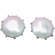 REDUCED CROWN TRIFARI Faux Mabe Pearl Button Style Earrings