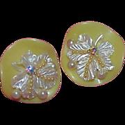 Lemon Yellow & White Plastic Earrings w/Faux Pearls and Aurora Borealis