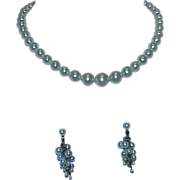 Pale Blue Faux Pearl Strand with Matching Dangle Pierced Earrings