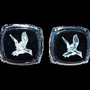 Silvertone Flying Ducks Cuff Links