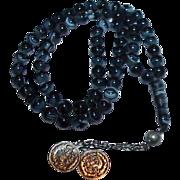SOLD Mottled Black Glass Prayer Beads
