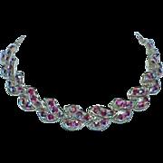 SALE Vintage Designer Neon Red to Blue Purple Aurora Borealis Necklace