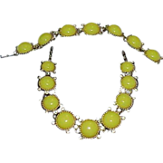 SALE Yellow Moon Glow Rhinestone Necklace and Bracelet Set - Demi Parure