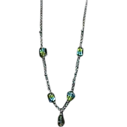 1970s Sea Blue Green Yellow Lucite Square Bead Necklace