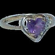 REDUCED Elegant Little Heart  Shaped Amethyst 10k Gold Ring