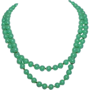 Green Lucite Bead 2-Strand Necklace