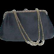 REDUCED La Regale Ltd Black Satin Evening Bag