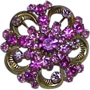 SALE Made in Austria Pink Crystal Rhinestone Brooch
