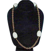 White Bead Link Chain Necklace
