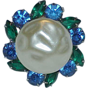 SALE Mabe' Style Lucite Baroque Pearl and Green  Blue Rhinestone Brooch