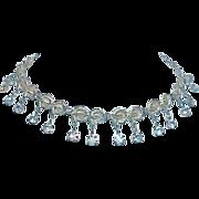 REDUCED Gold Tone Aurora Borealis Dangle Necklace