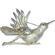 REDUCED Vintage PELL Rhinestone Bird Brooch