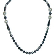 REDUCED Hematite and Glass Pearl Necklace