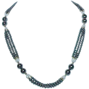 REDUCED Hematite Glass Pearl Triple Strand Necklace