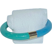 REDUCED Blue.Green Lucite Bangle