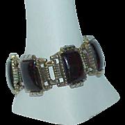 REDUCED Black Molded Lucite Silvertone Estate Bracelet