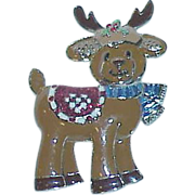 Vintage Reindeer Enamel Brooch