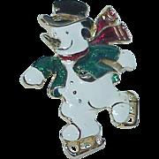Heated Enamel Frosty the Snowman Brooch
