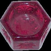 REDUCED Hexagon Red Glass Salt Cellar
