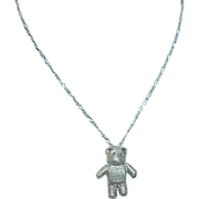 REDUCED Pewter Teddy Bear on Sterling Chain