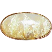REDUCED Antique Dendritic Agate 14k Gold Collar Brooch