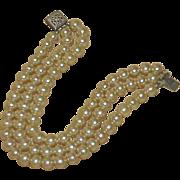 REDUCED Vintage Art Deco Glass Pearl Multi Strand Bracelet