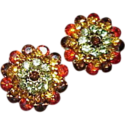Vintage Crystal Rhinestone Button Earrings