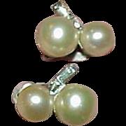 REDUCED Vintage JOMAZ Glass Pearl Rhinestone Earrings