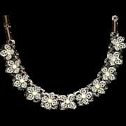 REDUCED Vintage Enamel Rhinestone Flower Necklace